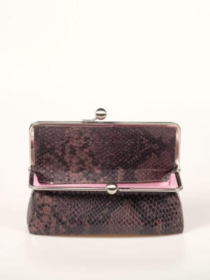Täschchen mit 6cm breitem Boden, für Stifte, Brille, Kosmetik; Farbe aubergine snake