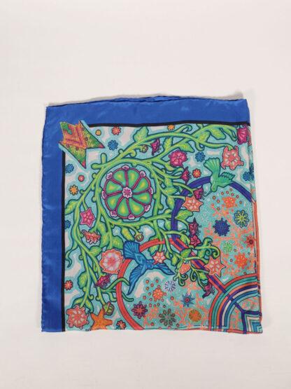 fair produziertes bedrucktes Seidentuch von Blue Valley, blau/orange/grün