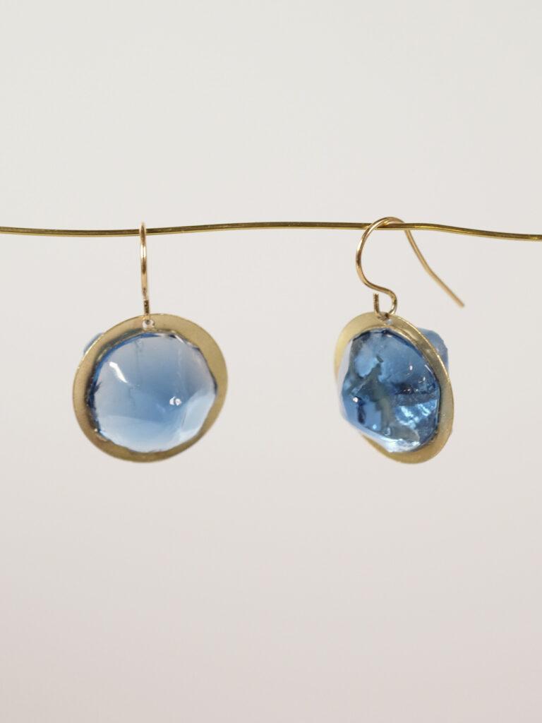 Ohrhänger Glas/ Messing blau