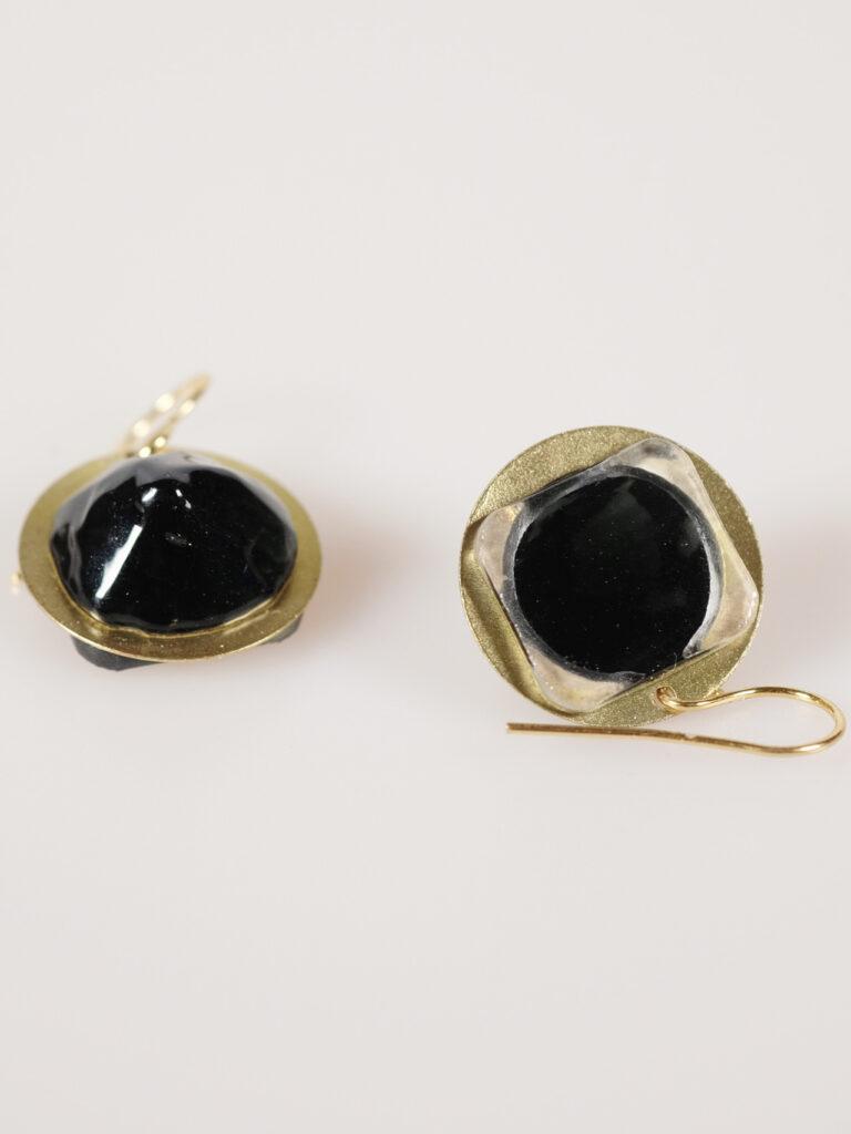 Ohrhänger Glas/ Messing schwarz