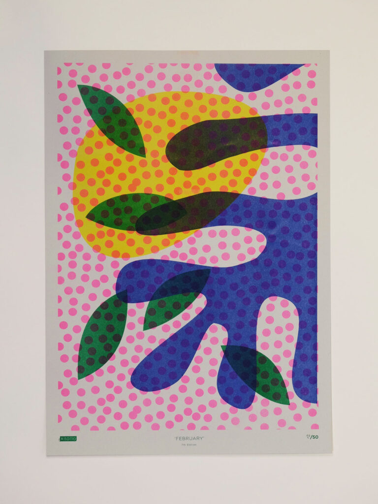 Risoprint Green, Fluro Pink,Medium Blue and Yellow