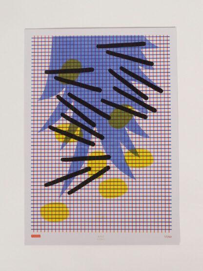 Risoprint Yellow, Black, Medium Blue and Red