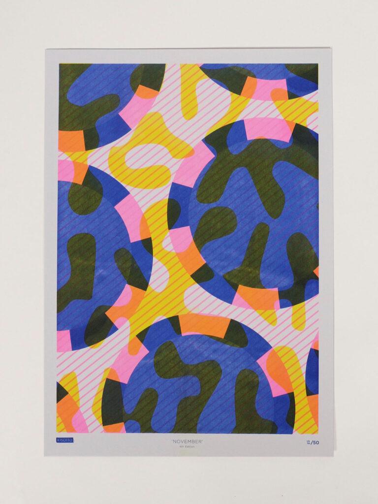 Risoprint Medium Blue, Fluro Pink and Yellow