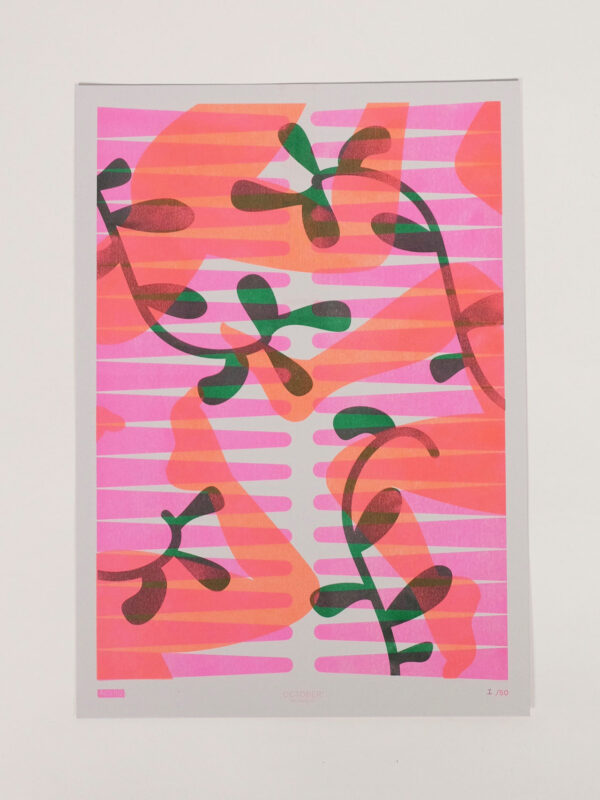 Risoprint Fluro Orange, Fluro Pink and Green