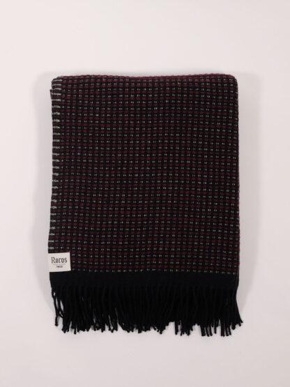Decke aus norwegischer Lammwolle Waffelpiqué, burgundy/mint