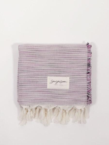handgewebtes Strandtuch aus Baumwolle und Tencel, grape/white