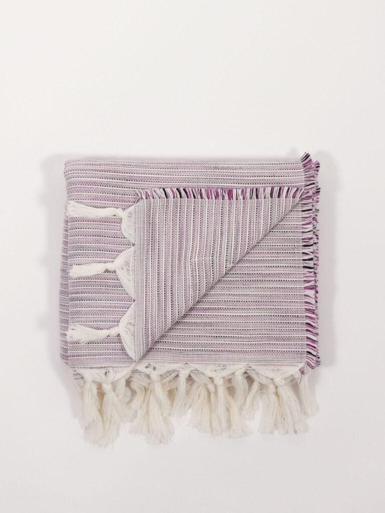 handgewebtes Starndtuch aus Baumwolle und Tencel, grape/whit