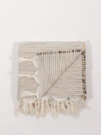 handgewebtes Strandtuch aus Baumwolle und Tencel, mustard/white