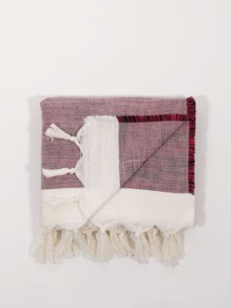 handgewebtes Strandtuch aus Baumwolle und Tencel, cherry