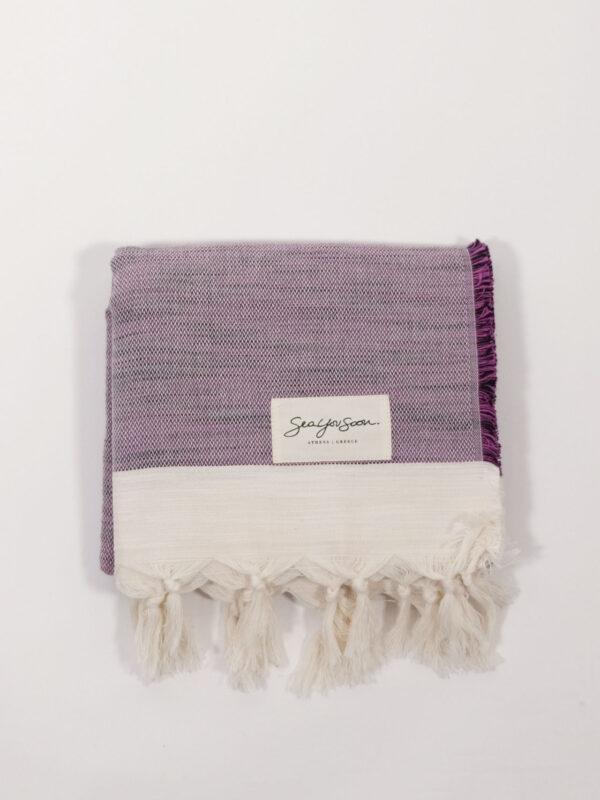 handgewebtes Strandtuch aus Baumwolle und Tencel, grape