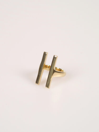 Soko double bar ring gold plated brass