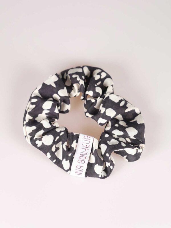 Scrunchie silk black and white