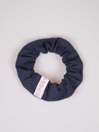 Scrunchie in japanese handwoven blu cottonn