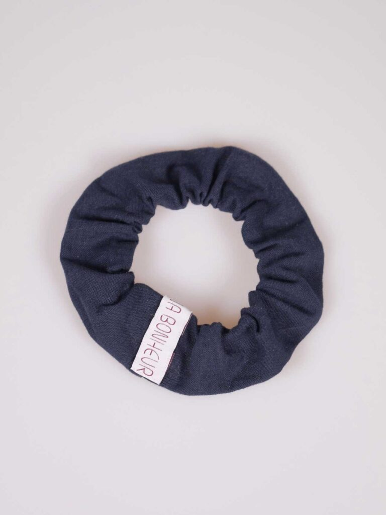 Scrunchie in japanese handwoven blu cottonn