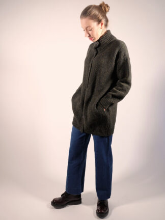 Longline Cardigan donegal tweed in huntergreen