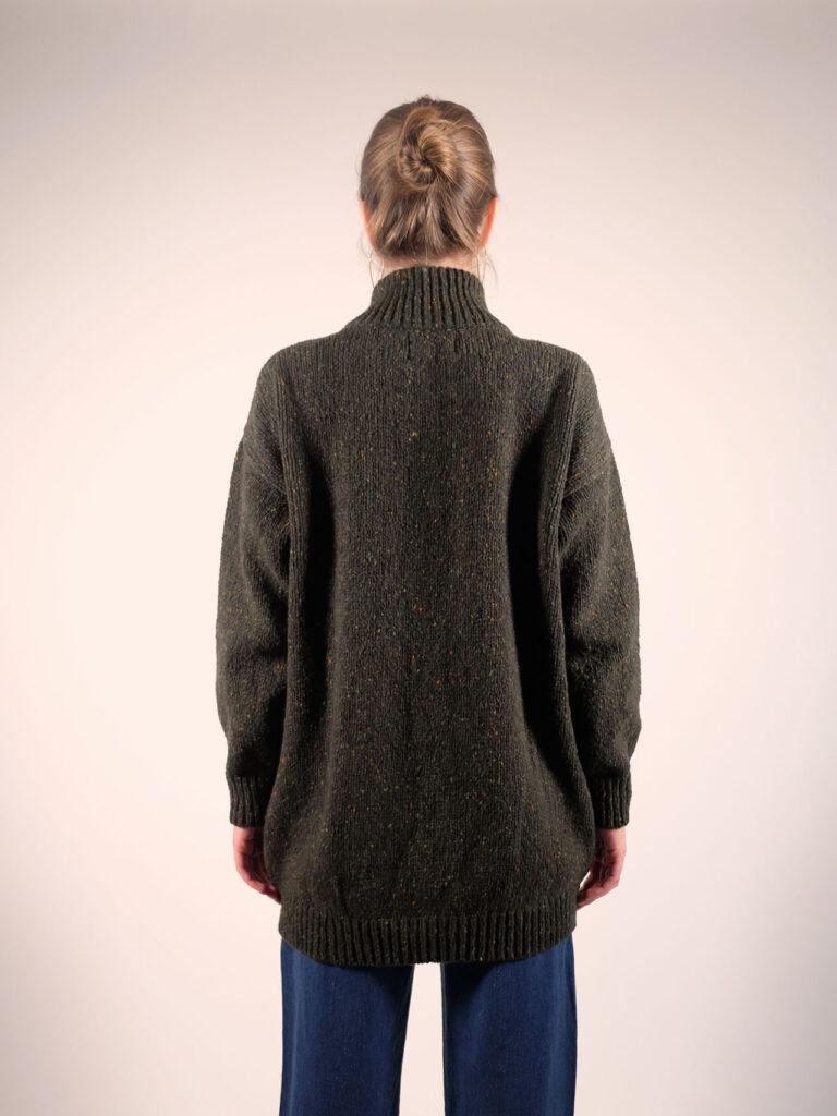 Longline Cardigan donegal tweed in huntergreen