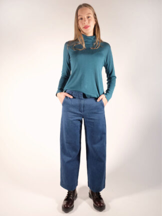 Hose aus Biobaumwoll Hanf Denim mit weitem geradem Bein