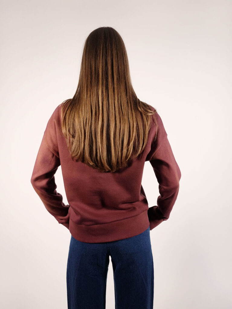 weiches sweatshirt aus biobaumwolle mit applikationen, gelb aubergine, tie dye