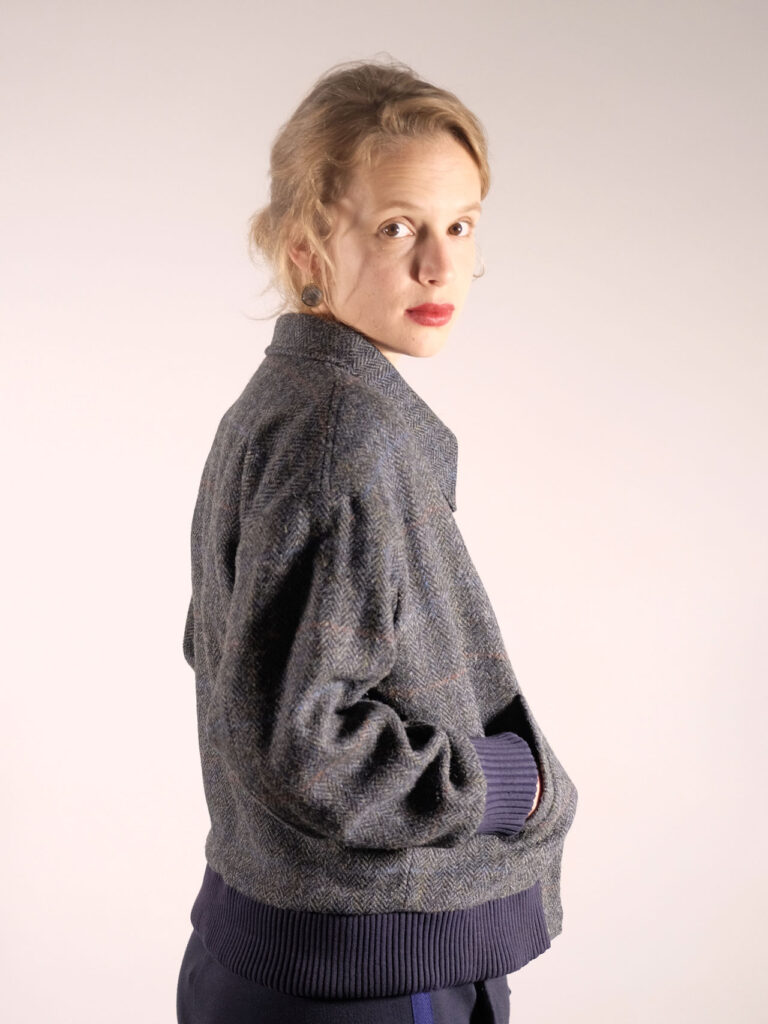 damen blouson harristweed grau blau