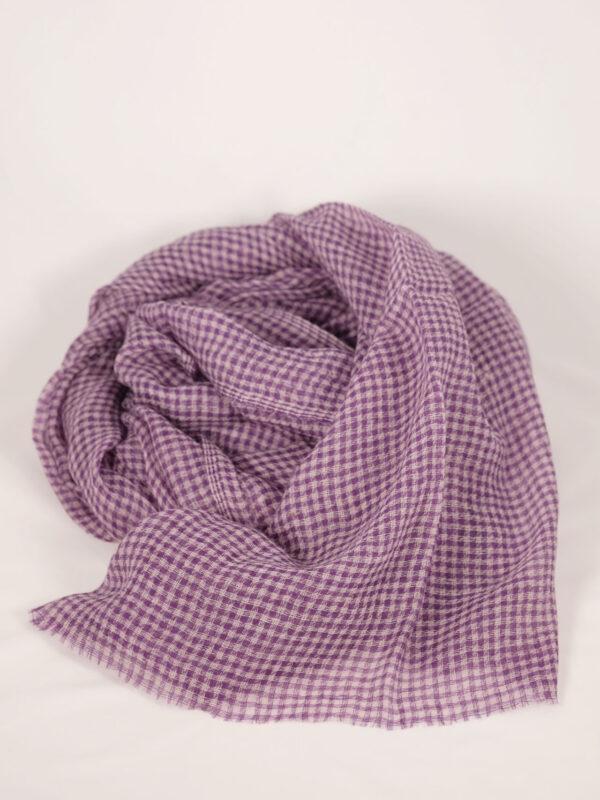 kleinkarierter Schal Baby Cashmere violet ecru