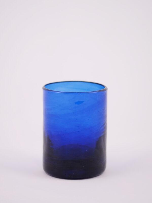 dunkelblaues mundgeblasenes Glas inspiriert vom 50er Jahre Design in Murano