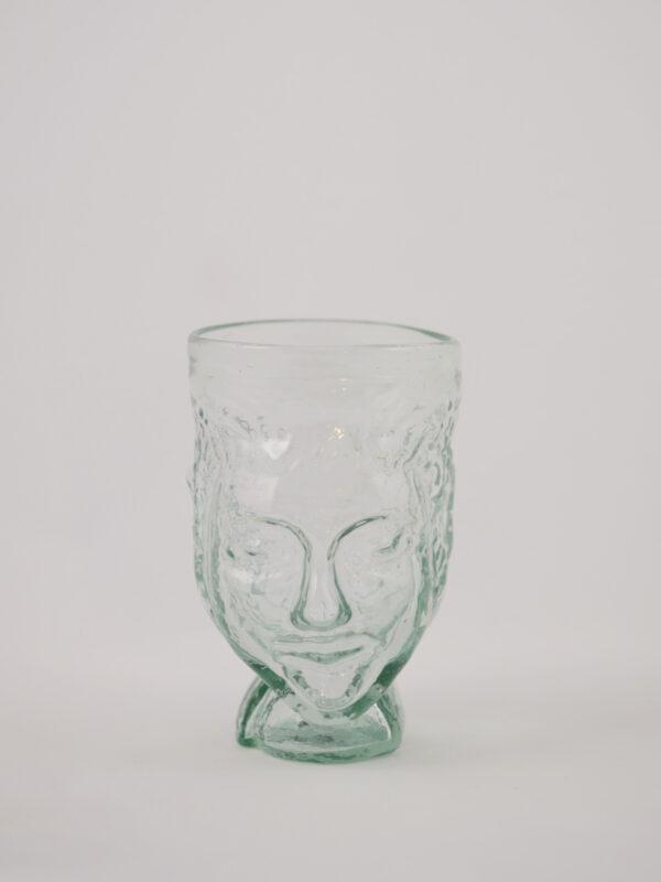 mundgeblasenes Glas in Kopfform, transparent