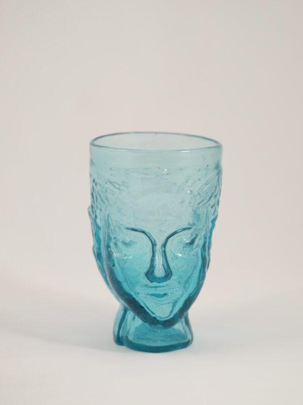 mundgeblasenes Glas mit Kopfform, türkis