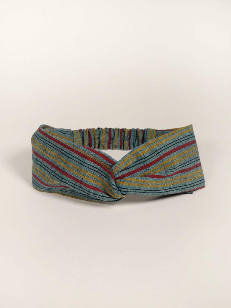 Turban Haarband aus bunt gestreifter japanischer Aizu Baumwolle