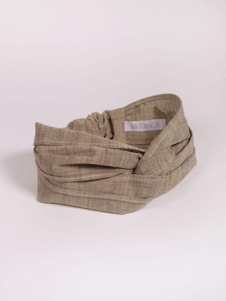 Turban Haarband aus japanischer Aizu Baumwolle beige pflaume meliert