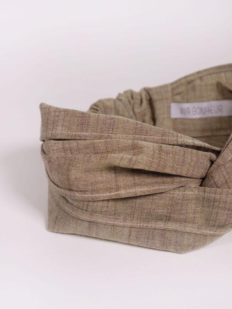 Turban Haarband aus japanischer Aizu Baumwolle beige pflaume meliert Zoom