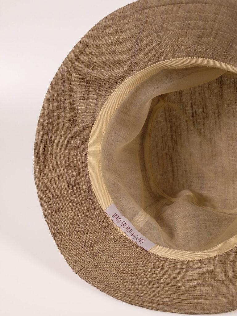 leichter Bucket Hat aus japanischer Aizu Baumwolle beige Detailaufnahme Innenfutter