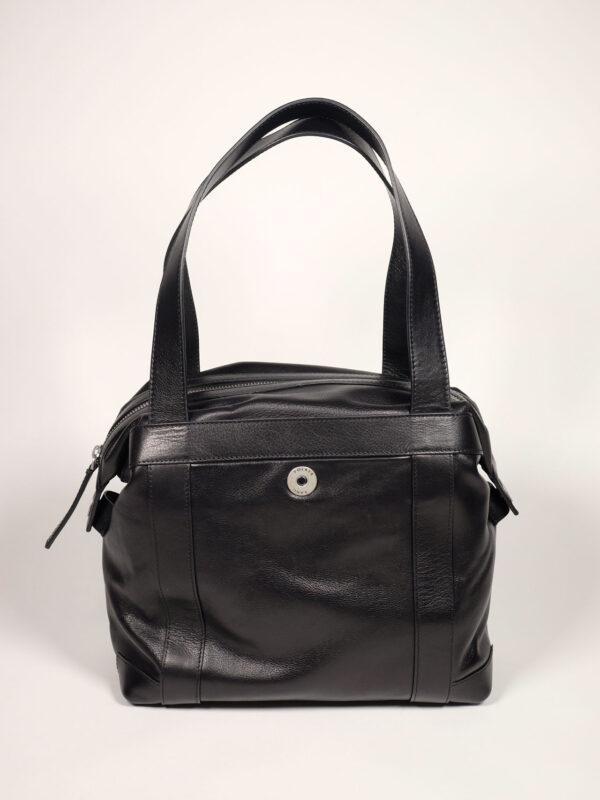 geräumige Schultertasche aus schwarzem Leder für Business und Alltag