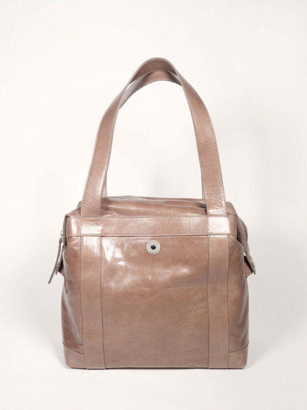 geräumige Schultertasche aus taupefarbenem Leder für Business und Alltag