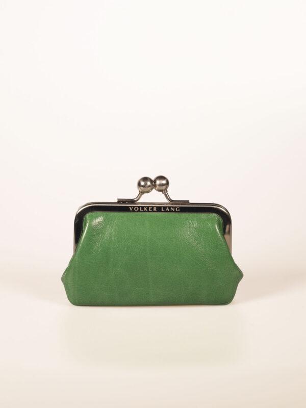 nostalgische kleine Bügelbörse oder Portemonnaie aus grünem Leder