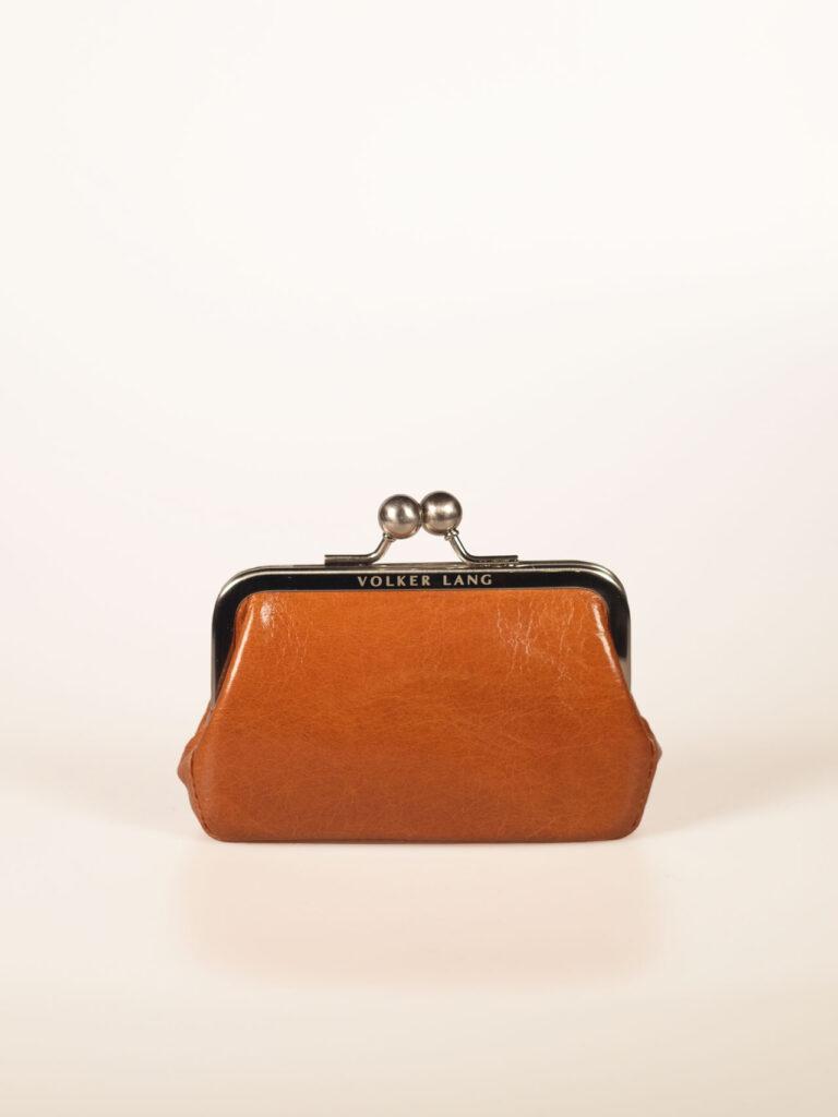 nostalgische kleine Bügelbörse oder Portemonnaie aus whiseyfarbenem Leder
